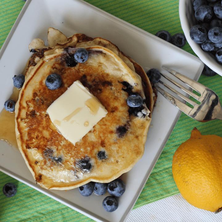 Lemon Blueberry Protein Packed Pancakes