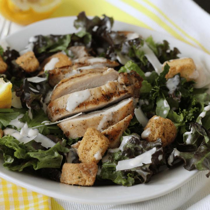 Lemon Kale Caesar Salad w/ Grilled Chicken & Creamy Lemon Caesar Vinaigrette