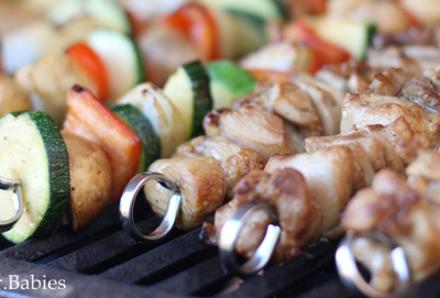 Mediterranean chicken kabobs recipe featured by top macro coach, Amber of Biceps After Babies.